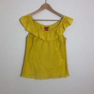 Sunny Leigh > Mustard Cotton/Silk Ruffled Top